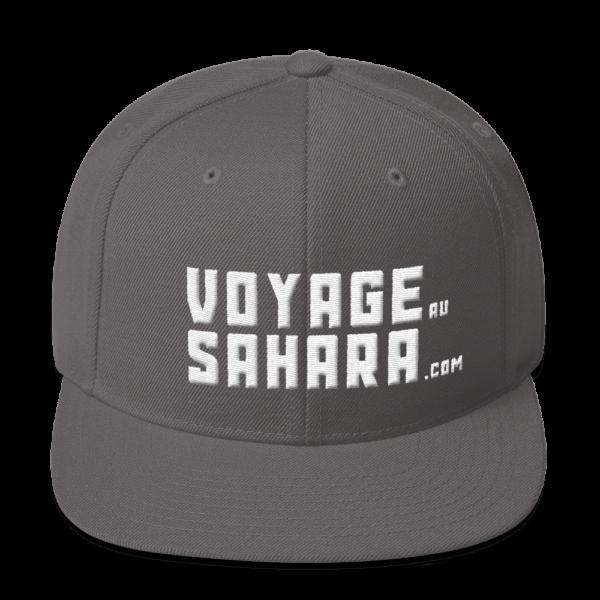 Vue arrière casquette Snapback Voyage au Sahara, couleur gris